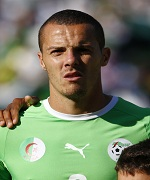 Algeria's Mesbah listens to the national anthem before their friendly soccer match against Armenia in Sion